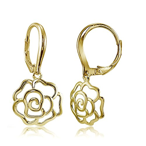 Yellow Gold Flashed Sterling Silver High Polished Open Rose Dangle Leverback Earrings
