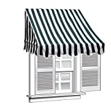 ALEKO 8x2 Feet Green/White Stripe Window Awning Door Canopy 8-Foot Decorator Awning