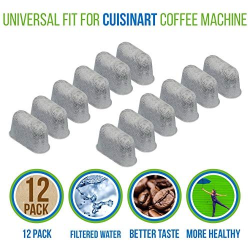 PURE GREEN 12-Pack of Cuisinart Compatible Replacement Charcoal Water Filters for Coffee Makers - Fits all Cuisinart Coffee Makers Cuisinart Charcoal Coffee Filters