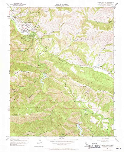 YellowMaps Carmel Valley CA topo map, 1:24000 Scale, 7.5 X 7.5 Minute, Historical, 1956, Updated 1971, 26.8 x 22 in - Paper