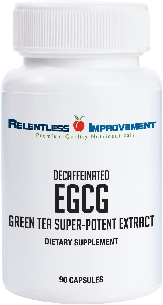 Relentless Improvement EGCG Green Tea Extract 670mg Extract Per Capsule Standardized to 98 Polyphenols 60 EgCG Very Low Caffeine No Stomach Upset