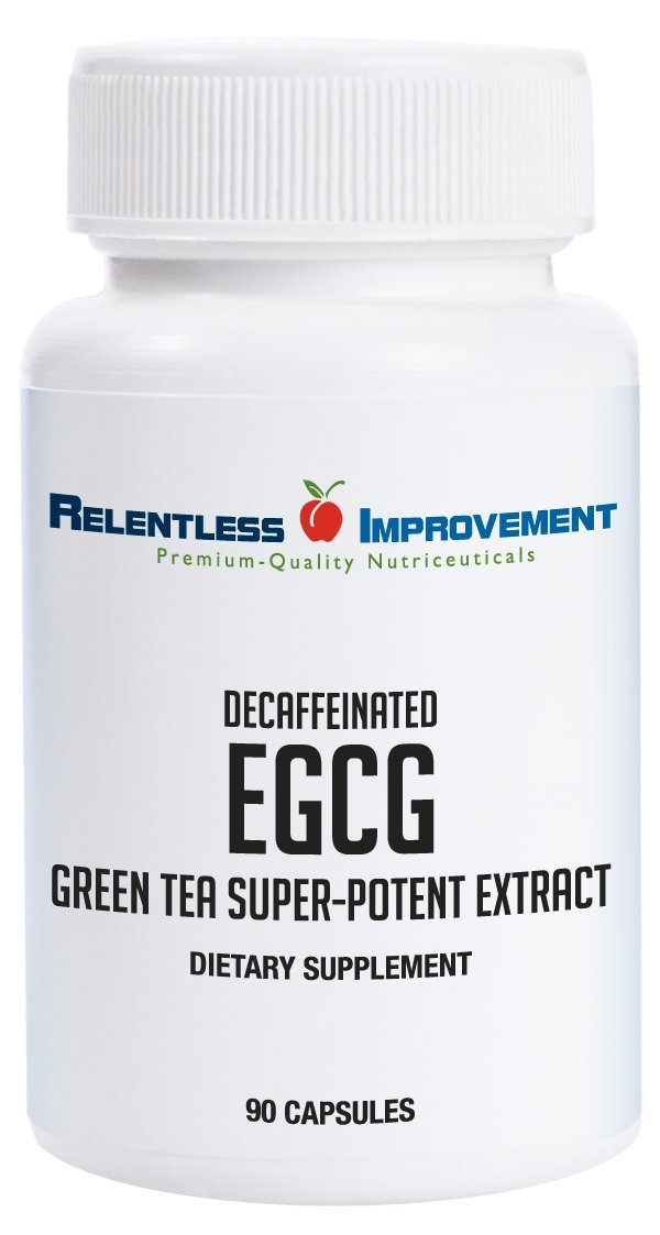 Relentless Improvement EGCG Green Tea Extract 670mg Extract Per Capsule Standardized to 98%+Polyphenols 60% EgCG Very Low Caffeine No Stomach Upset by Relentless Improvement