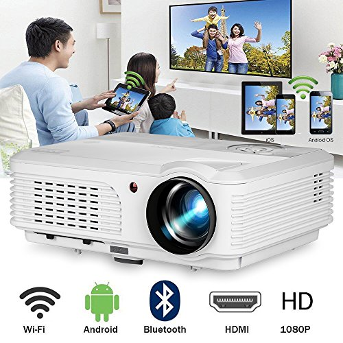 Bluetooth Projector WiFi Android LCD LED Home Theater Cinema 4400 Lumens Support 1080P Smart HD Video Projectors Airplay HDMI USB RCA VGA AV for Smartphone DVD Game Consoles Laptop Outdoor Movie (Kodi On Usb Flash Drive For Smart Tv)