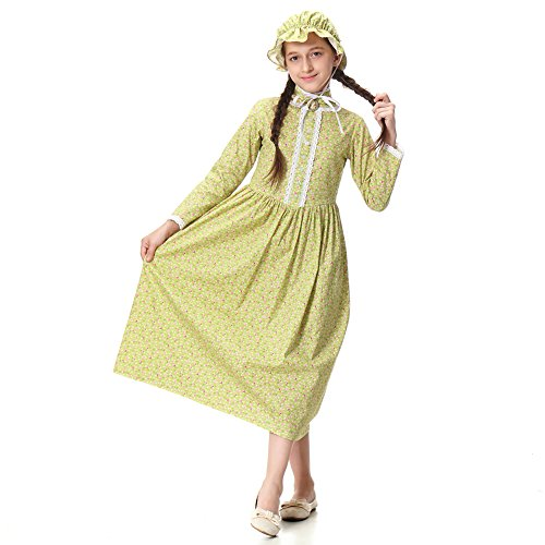 Pioneer Girl Costume Colonial Prairie Dress for Kids 100% Cotton,US14 by KOGOGO (Image #2)