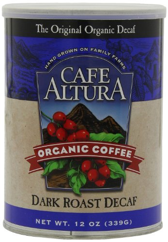 Cafe Altura Ground Organic Coffee, Dark Roast Decaf, 12 Ounce (Pack of 3)