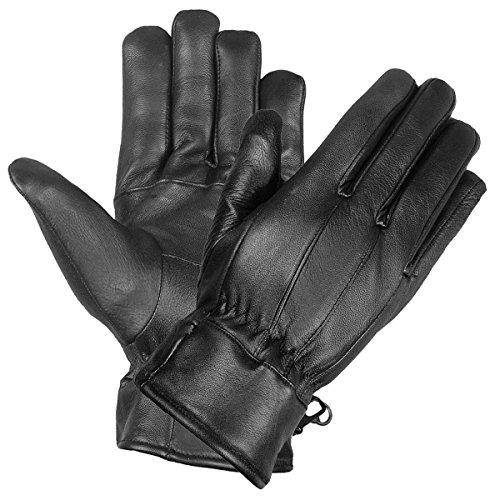 Premium Lambskin Mens Driving Dress Gloves Thinsulate lined Black (Lined Lamb Dress Glove)