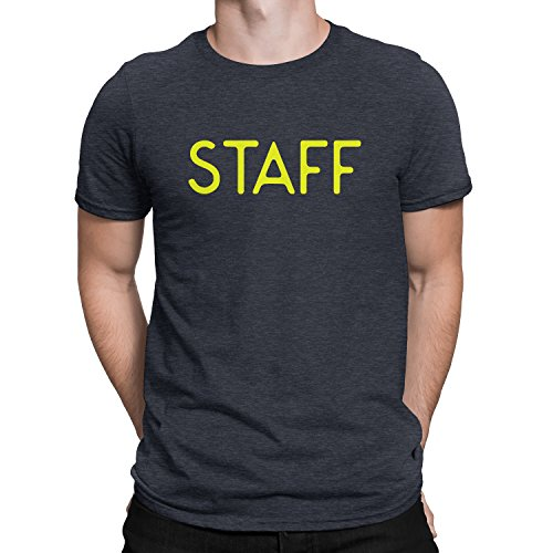 NYC FACTORY Staff T-Shirt Screen Printed Tee Printed Front & Back Staff Event (Heather Charcoal, Large) - Back Screen Printed
