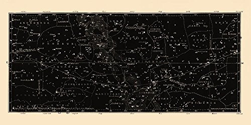 Large Horizontal Antique Constellations Map and Star Chart Large Star Chart