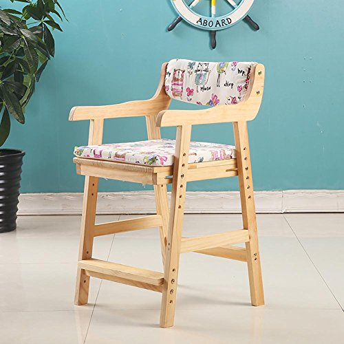 Simple and modern Children's chair armchair Desk chair Solid wood Pine wood adjustable Chair lift Study chair Household computer chair Dining chair armchair Small stool , wood color (Chair Office Pine)