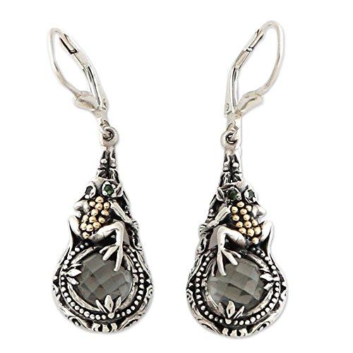 (NOVICA Multi-Gem Prasiolite 18k Gold Plated .925 Sterling Silver Dangle Earrings, Tropical Frog')