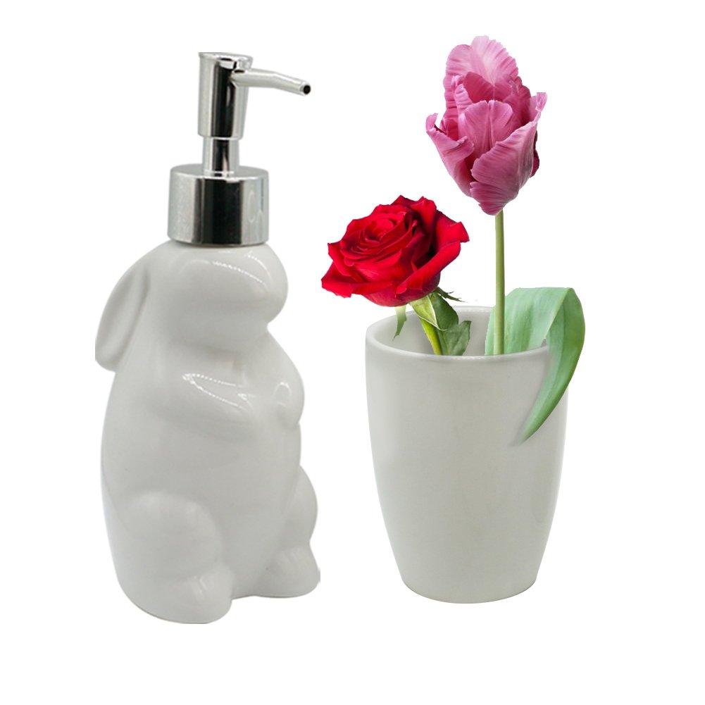 Zeewoo Badezimmer Set Toiletten Badset Badgarnitur 5-TLG Seifenspender, Becher, Seifenschale, Zahnbürsten Halter, Niedlichen Stil Kaninchen Form Badezimmer Dekoration und Home Geschenk Set, Weiß