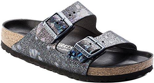 Birkenstock Womens Arizona Lux Slide Sandal Spotted Metallic Black Size 38 N EU (7-7.5 N US Women)