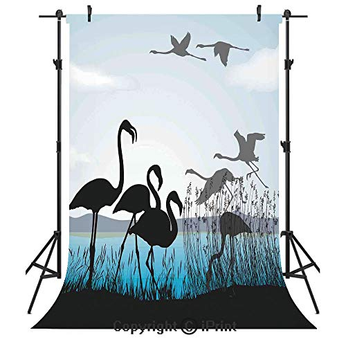 (Flamingo Photography Backdrops,Flamingo Silhouettes Walking Flying Waterfront and The River Reed Bed,Birthday Party Seamless Photo Studio Booth Background Banner 6x9ft,Black Light Blue Grey )