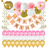 Birthday Party Decorations 49 Piece kit - Gold and Pink Party Supplies and Favors for Kids - Happy Birthday Banner, Balloons, Pompoms, Paper Lantern, Glitter Garland, Swirl – by Yana's Corner