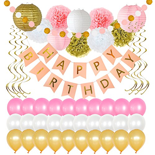 Birthday Party Decorations 49 Piece kit - Gold and Pink Party Supplies and Favors for Kids - Happy Birthday Banner, Balloons, Pompoms, Paper Lantern, Glitter Garland, Swirl – by Yana's (White Favor Kits)