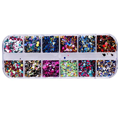 Potelin 12 Grids/Set Dazzling Nail Glitter Sequins Mixed DIY Charm Polish Flakes Decorations Rhinestones Manicure Tips Kit 3 Durable and Useful ()