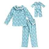 Dollie & Me Girls' Apparel Screen-Printed Pajamas with Matching Doll Outfit in, Blue, Size 12