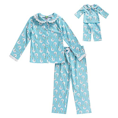 Dollie & Me Girls' Apparel Screen-Printed Pajamas with Matching Doll Outfit in, Blue Size 8 ()