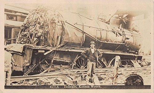 Train Railroad Photo Real (Real Photo Postcard Railroad Train Engine Wreck in Dellvale, Kansas~112207)