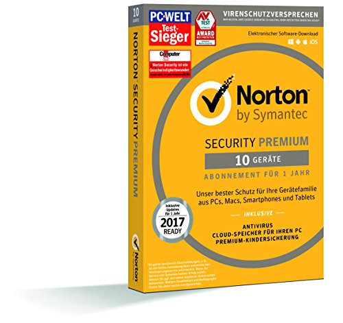Norton Security Premium (10 Geräte, 25GB PC Backup, Premium-Kindersicherung) - Download [Online Code]