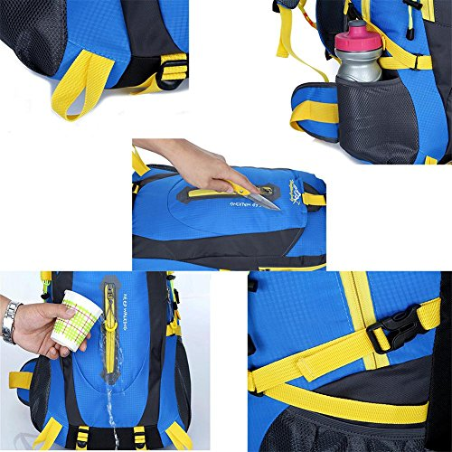 40L impermeable de nylon y las mujeres de los hombres que va de excursión que acampa Mochila Mochila Montañismo Escalada Senderismo ciclo al aire libre se divierte el bolso , blue Orange