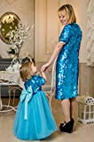 Mommy and Me Christmas dresses Blue sequin mother daughter matching dresses blue sequin tutu, party dress, flower girl sequin dress Matching