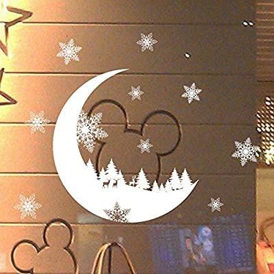 Amazon.com: Chitop New Year Window Glass PVC Wall Sticker - Christmas DIY Snow Moon Wall Stickers - Home Decal Christmas Decoration for Home Supplies: Home ...