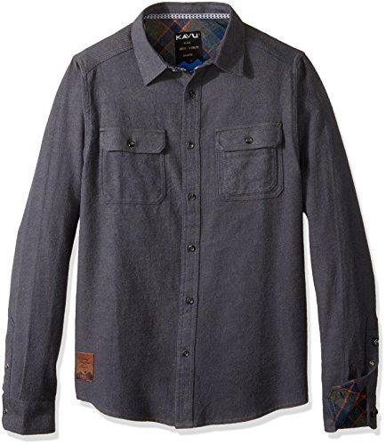 KAVU Men's Franklin Long Sleeve Shirt, Deep Sea, Large