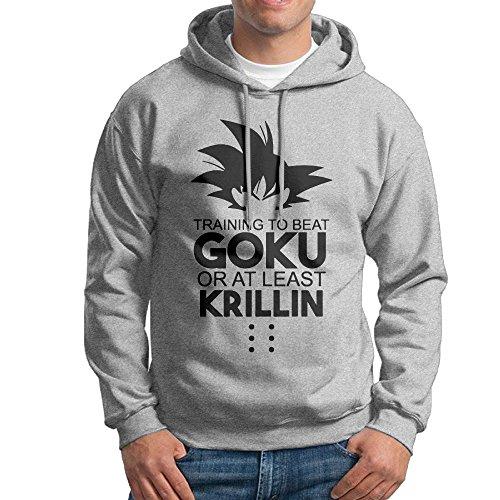 Bekey Men's GOKU Pullover Hoodie Sweatshirt XL Ash