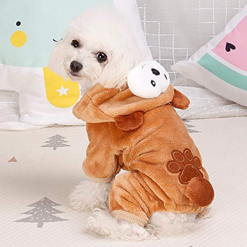 Pet Clothes Dog Cat Cute Pig Brown Bear Elephant Koalas Transfiguration Coat Dress Up Warm Dog Apparel Jacket Small Pet Clothes Sweatshirt Pig Sweater Dog Winter Outfits Doggy Costume (Coffee, S) by succeedtop (Image #2)