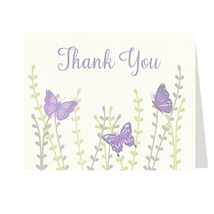Black White Butterfly Personalized Party Thank You Cards