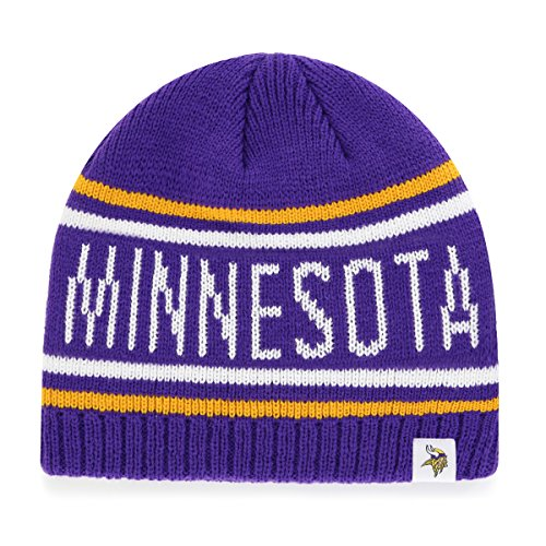 NFL Minnesota Vikings Men's Thorsby OTS Beanie Knit Cap, Team Color, One -