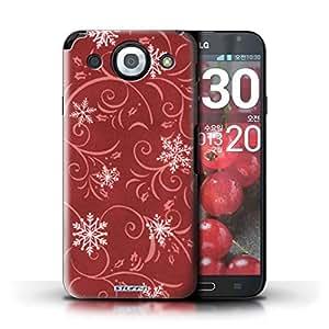 Kobalt® protector duro de nuevo caso / cubierta para el LG Optimus G Pro | Rojo Diseño | Patrón de copo de nieve colección