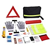 Kaluo Roadside Assistance Car Emergency Kit 43 Pcs Auto Safety Kit for Automotive, Truck, SUV with Triangle, Flashlight, Tire Pressure Gauges, Safety Hammer