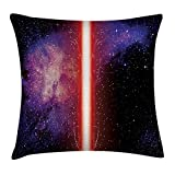 Queen Area Famous Movie Prop Fantastic Galaxy Theme between Enemies Theme Stripe in Red Square Throw Pillow Covers Cushion Case for Sofa Bedroom Car 18x18 Inch, Black
