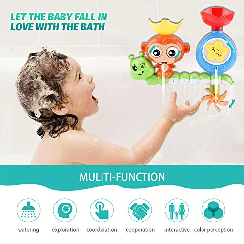 GOODLOGO Bath Toys for Toddlers Kids Babies 1 2 3 Year Old Boys Girls Bathtub Toy with 2 Toy Cups Strong Suction Cups Ideas Color Box