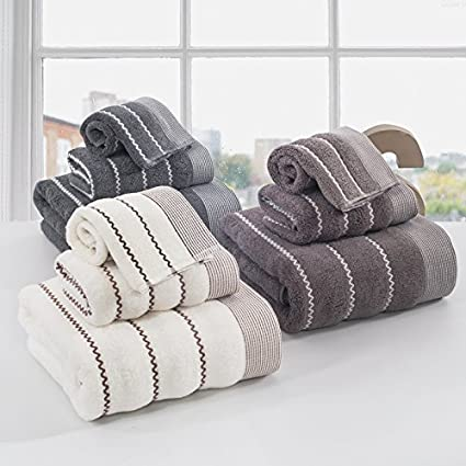 Generic marrón, 3 unidades Juego de toallas: sunnyrain 3 piezas Estriado algodón juego de