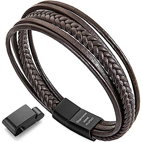(Depot Tresor Women's Leather Bracelet,Braided Leather Bracelet for Women, Brown and Black Leather Bracelet for Women (brown7.3-7.9