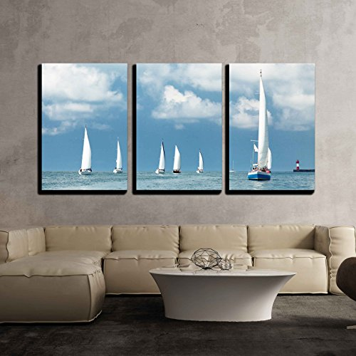 Three Sailboats (wall26 - 3 Piece Canvas Wall Art - Sailboats Sailing, Blue Cloudy Sky and White Sails - Modern Home Decor Stretched and Framed Ready to Hang - 16