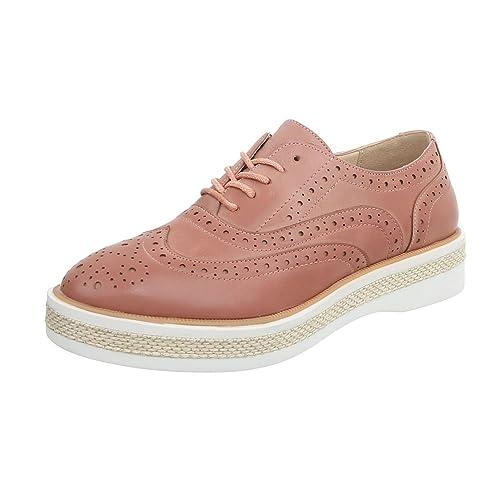 Ital-Design - Zapatos Planos con Cordones Mujer , color plateado, talla 38 EU