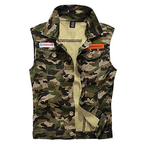 Military Men Camouflage Vest Jacket Fashion Army Outfit Women Unisex Denim Vest Sleeveless Coat Tops Green (XL)