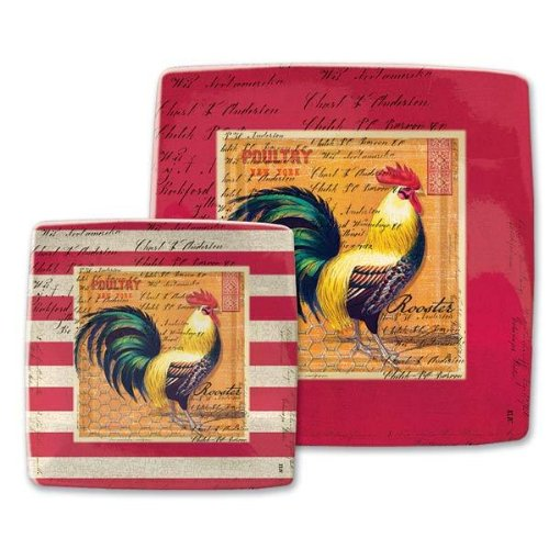 Michel Design Works Rooster Luncheon and Dessert Square Paper Plates, 8 Count Rooster Dessert