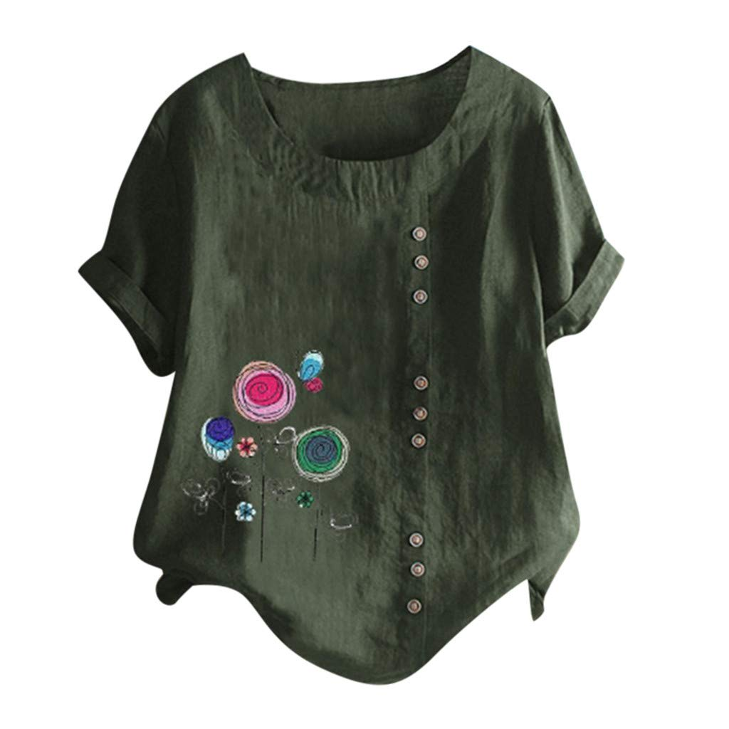 Lazzboy Women T-Shirt Tops Plus Size Loose Dandelion Leopard Embroidery Print//Plain Short Sleeve Buttons Decor Tee