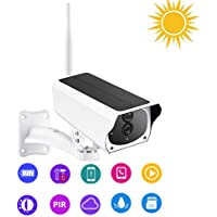 SUNGLIFE Outdoor Solar Battery Powered Security Camera, 2.4GHz WiFi Wireless Home Security Camera, Night Vision,Motion…
