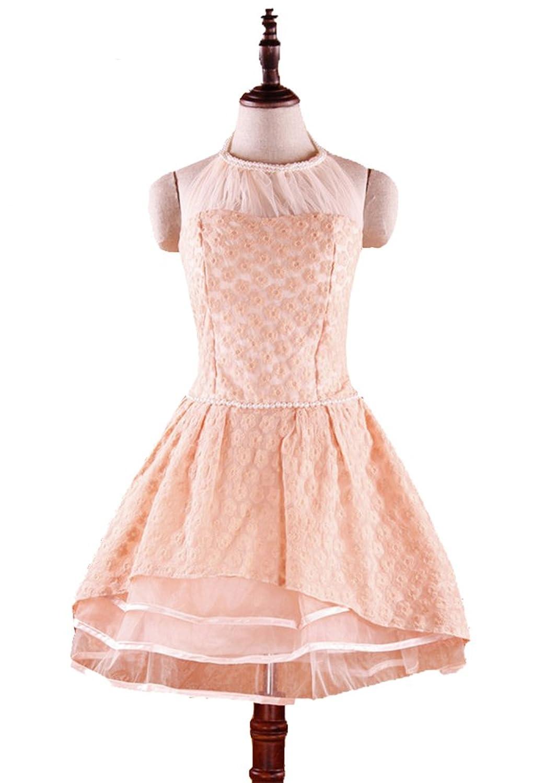 Alionz Women Fairy Temperament Models Pearl Halter Style Organza Ball Dress Champagne