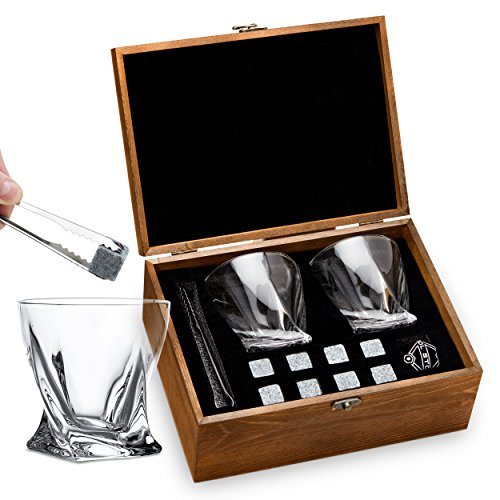 Whiskey Stones and Whiskey Glass Gift Boxed Set - 8 Granite Chilling Whisky Rocks + 2 Crystal Glasses in Wooden Box - Great Gift for Father's Day, Dad's Birthday or Anytime For Dad