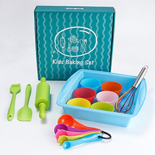 SveBake Kids Baking Set 16-Pieces Kitchen Supplies Real Cooking Ultimate Baking Starter Set for Kids Real Gift Set