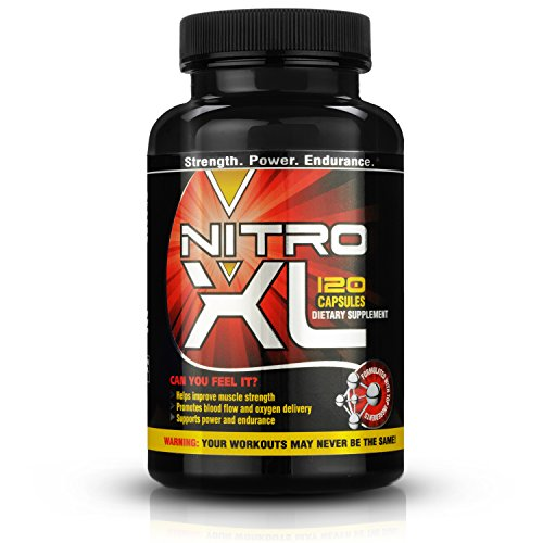 Nitro XL | Nitric Oxide Bodybuilding Supplement - with L-Arginine | Get Ripped - Build Muscle Mass - Get Pumped - Boost Performance - Increase Endurance & Stamina - Intensify Your Workout | 120 caps