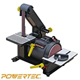 POWERTEC BD1500 Wood Working Belt Disc Sander, 1'' x 5''