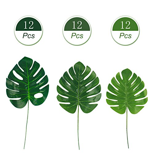 Dragang Palm Leaves Artificial Tropical Leaves Decorations,Palm Leaf for Party Decorations,Jungle Party Decorations,3 Different Sizes, 12pcs Each by Dragang (Image #1)